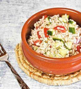 Reis Salat, vegane Mahlzeit oder Beilage zu Fleisch und Fisch
