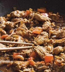 Schweinische Asiapfanne mit Mungbohnen