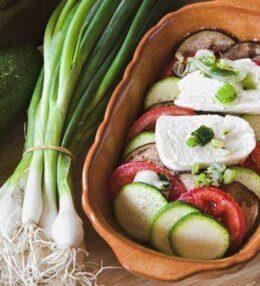 Sardisches Gemüse Gratin, einfach Sommer, Sonne, Sonnenschein