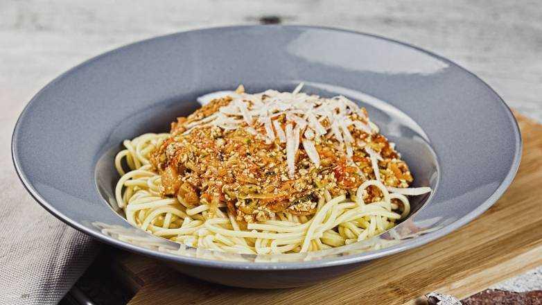 Spaghetti Gemuese Tofu Bolognese Rezept
