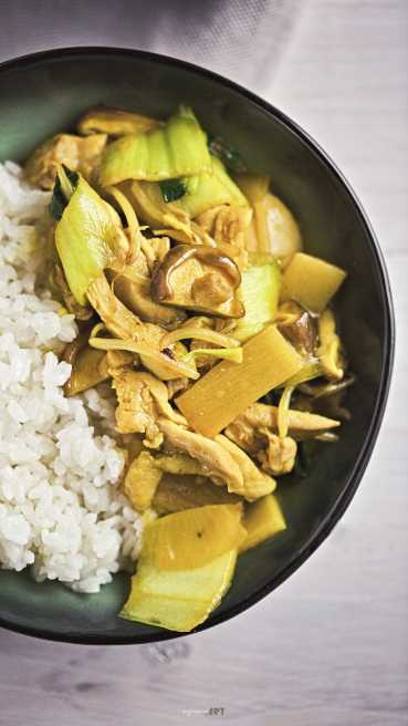 Wok Pfanne Huhn Reis Abbildung 1