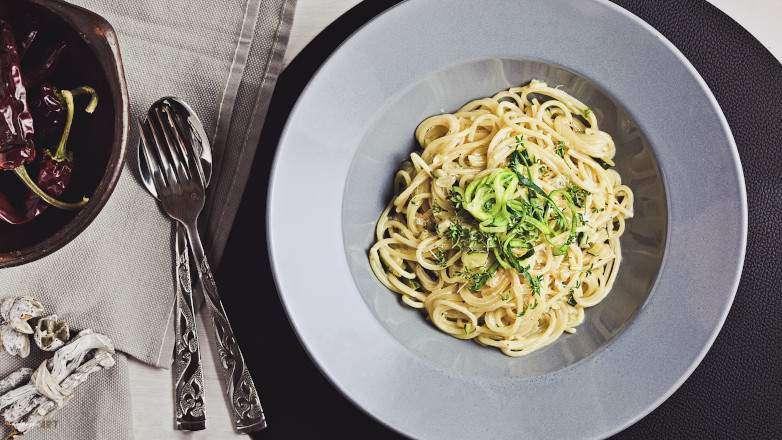 Spaghetti Zucchini Gorgonzola, herzhaft ohne Fleisch, wunderbar sämig