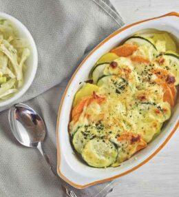 Süßkartoffel Zucchini Gratin, Hauptgericht oder Beilage?