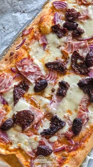 Grill Teig Pizza Schinken Käse Olive Abbildung 2